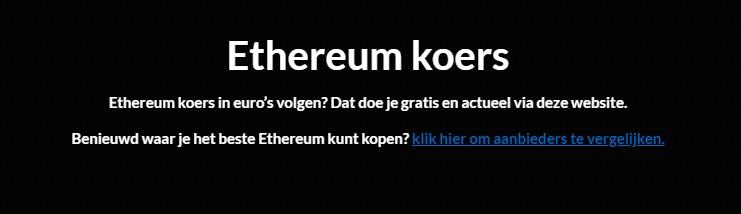 ethereum koers